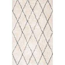 nuloom sheba cotton diamond gy ivory 4 ft x 6 ft area rug rfek01a 406 the home depot