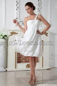 ivory simple one shoulder short maternity wedding dress img 1969