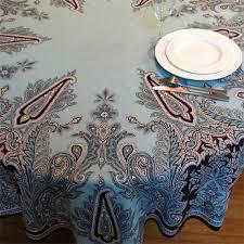 aqua blue 180 cm round cotton tablecloth paquita blue 70 in