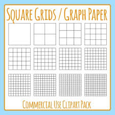 Square Grid Graph Paper Commercial Use Clip Art Pack