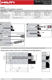Hilti Anchor Bolt Design Manual Hus Hr Cr Screw Anchor Stainless Steel Pdf Free Download