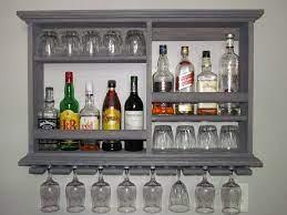 mini bar weathered gray wine rack
