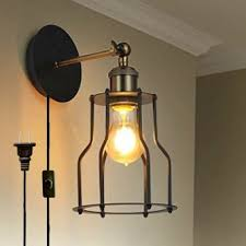 plug in industrial lighting. Kiven Retro Industrial Edison Antique Style Wall Lamp E26 UL Certification Plug-In Button Switch Cord Fixture Lights Iron Cage Sconce Bulb Included, Plug In Lighting