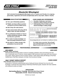 Bartender Resume Template No Experience For Incredible Templates Job