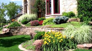Colorful flower beds and garden paths, beautiful landscaping ideas