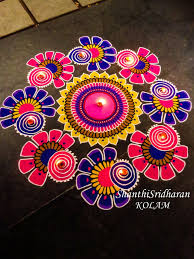 Rangoli Art Designs For Diwali Kolam Mandala Circle Round Drawing Art Pink Purple Yellow