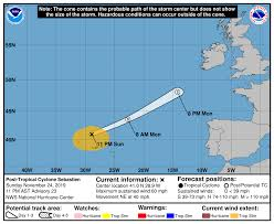 Atlantic Basin Hurricane Tracking Chart National Hurricane Center Miami Florida Post Tropical Cyclone Sebastien
