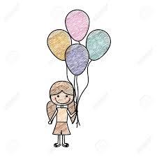 短いズボンとおさげの髪型の女の子と多くの風船ベクトル イラストの笑顔