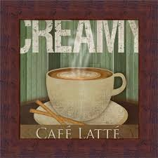 Cafe Decorations For Kitchen Creamy Cafac Latte Kitchen Daccor Coffee Sign Framed Art Print Wall
