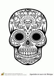 Coloriage Cr Ne En Sucre Mexicain Diamants Dedans Tete De Mort A Tete De Mort En Sucre Mexicaine A Colorier L