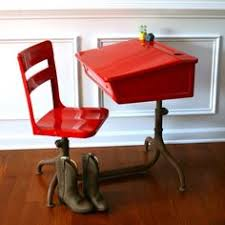 wooden school desk and chair. RESERVED FOR ACFITTS Inspired Learning. Vintage School Desk And Chair.  Metal. Wooden. Fire Engine Red Elementary. Antiques By Rhapsody Attic On Wooden School Desk Chair M