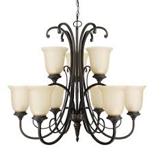 globe electric beverly 9 light chandelier with amber glass shade