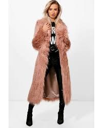 boohoo pink maria boutique mongolian maxi faux fur coat lyst