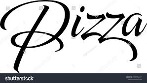 Elegant Word Pizza Brush Lettering Calligraphy Stock Vector Royalty