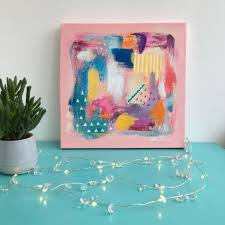 Canvas abstract artwork Large Canvas Girls Abstract Art Painting Original On Canvas Notonthehighstreetcom Girls Abstract Art Painting Original On Canvas By Paintmehappy Art