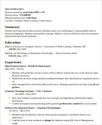 Internship Resume Samples For Computer Science Best Of Data Scientist Resume Example Best Resume Template