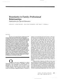 PDF) Boundaries in Family-Professional Relationships: Implications for  Special Education