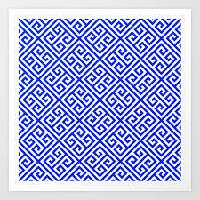 greek fret design art print by ohaniki