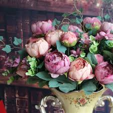 artificial peony silk fl 12 heads flowers bridal