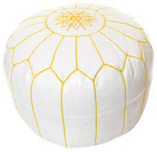 moroccan leather pouf white with yellow stitching