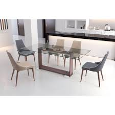 Glass top dining sets Small Space Zuo Moor Beige Leatherette Dining Chair set Of 2100277 The Home Depot The Home Depot Zuo Moor Beige Leatherette Dining Chair set Of 2100277 The Home