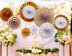 Paper Rosette Flower 1 Set 8pcs Foil Gold Pinwheel Backdrop Paper Rosette Wedding Giant