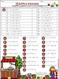 writing quadratic equations vertex