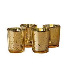 gold mercury tealight glass votive candle holder