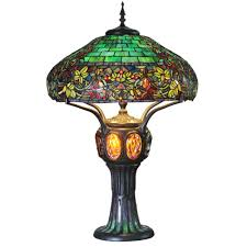 multi colored stained glass table lamp with turtleback and