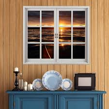 Artificial Window Sunset 3d Artificial Window View Pag Wall Decals Lake View Room