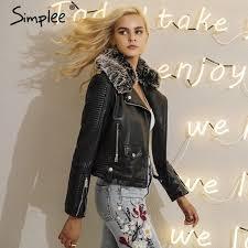 fashion fur collar basic jacket coat outerwear coats streetwear black faux leather coat female pu leather
