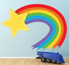 wall stickers rainbow decals for walls rainbow wall decals removable shooting rainbow star wall decal