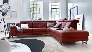 Interliving Sofa Serie 4050 Eckkombination Barolofarbenes Longlife Leder Credo Chromfüße Schenkelmaß Ca 300 X 261