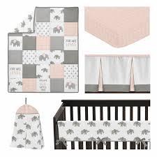 pink elephant safari baby girl nursery