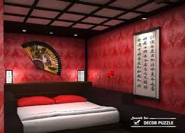 oriental bedroom asian furniture style. Japanese Style Bedroom - Red Color Scheme, Furniture Wall Decor Oriental Asian E