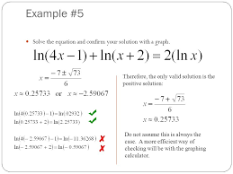 example 5 solve the equation and confirm your solution with a graph