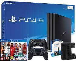 Máy Chơi Game Playstation 4 PRO 1TB 2 Tay Cầm Kèm Đĩa PS4 PES 2021 & GTA5 +  Đế Tản Nhiệt DOBE Chính Hãng Sony VN - 34GameShop