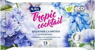 Aura <b>Влажные салфетки</b> освежающие Tropic Cocktail, <b>15 шт</b>, в ...