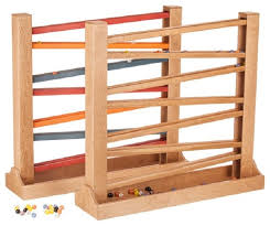 wood marble run heirloom red yellow track with glass marbles transitional kids toys and by saving shepherd