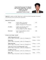 Sample Resume Format For Ojt Students Https Momogicars Com