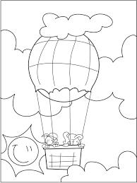 Kleurplaat Vliegen In Een Luchtballon Kleurplatennl