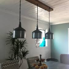 funnel chandelier with barn wood beam and iron brackets restaurant bar pendant