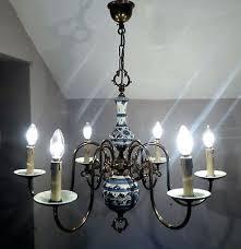 outstanding beautiful vintage dutch brass blue white delft porcelain vintage blue and white porcelain chandelier