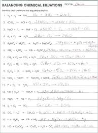 chemical reactions middle school identifying and balancing equations worksheet answers chemistry worksheets pdf of che