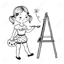 1300x1300 vector ilration of a cute little girl drawing behind an easel