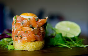 Light Starters Uk Salmon Tartare With Smoked Salmon Quails Egg
