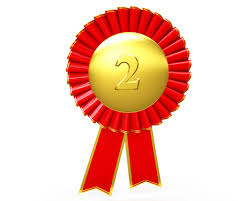 Red Ribbon Design Red Ribbon Batch For Second Position Stock Photo