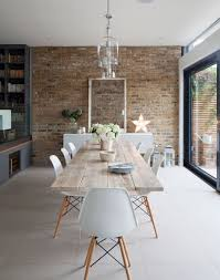 White Exposed Brick Wall White Scandi Style Dining Room With Exposed Brick Wall Future
