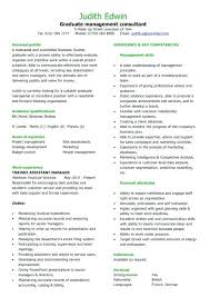 Management Cv Template Consultant Cv Template Examples Graduate Management Sample Team