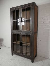 Metal glass cabinet Sliding Glass Null Ikea Reclaimed Iron And Wood Glass Door Cabinet For Sale At 1stdibs
